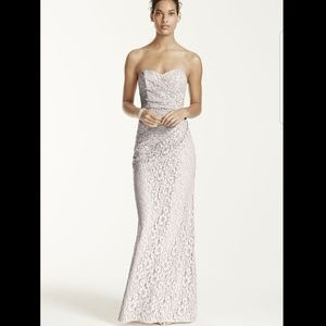 Black David's Bridal Long Strapless Lace Dress ***